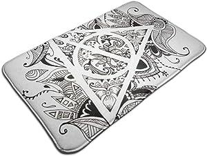 Graphic Symbol Deathly Hallows Black White Abstract Harry Doormat Entrance Mat Floor Mat Rug Indoor/Outdoor/Front Door/Bathroom Mats Rubber Non Slip 31.5 X 19.5 Inch