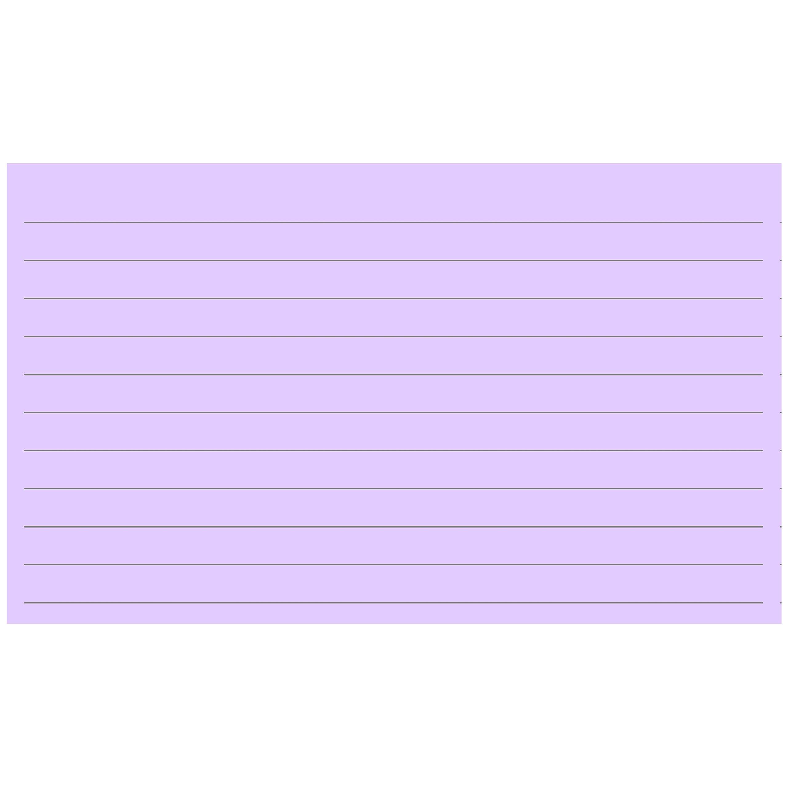 Colonial Cards: 150 Color Cardstock 3'' x 5'' Index Cards, Light Purple, Lined Landscape Format