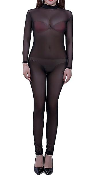 d0c5cc379afc Amazon.com  Zukzi Womens See Through Lingerie Jumpsuit Long Sleeve Mesh  Full Bodysuits