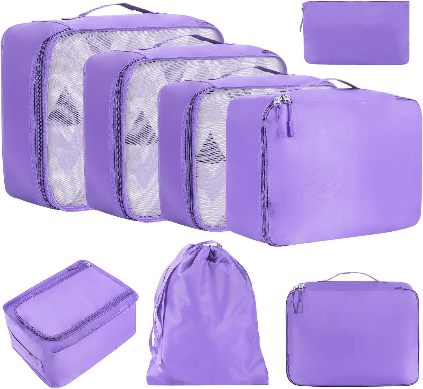 Eono by Amazon - 8 Set Cubos de Embalaje, Organizadores para Maletas, Equipaje de Viaje Organizadores, con Bolsa de Zapatos, Bolsa de Cosméticos y Bolsa de Lavandería, Púrpura