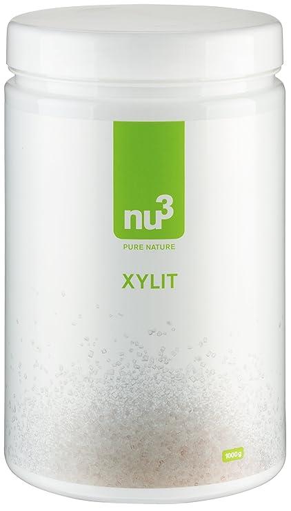 nu3 - Xylitol (Xylit) | 1kg | Sucre de bouleau | Produit naturel sans aspartame | Substitut de sucre à faible indice glycémique | 40% de calories de moins que les sucres traditionnels