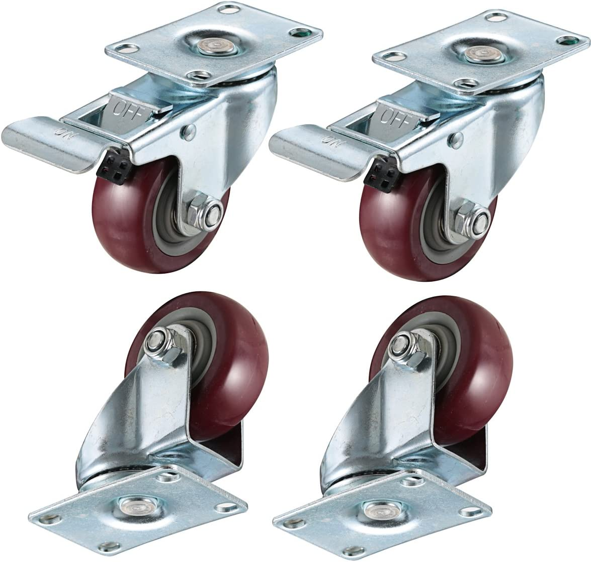 "bayite 4 Pack 3"" Heavy Duty Caster Wheels Polyurethane PU Swivel Casters with 360 Degree Top Plate 500lb Total Capacity for Set of 4 (2 with Brakes& 2 Without) Red"