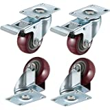 """bayite 4 Pack 3"""" Heavy Duty Caster Wheels Polyurethane PU Swivel Casters with 360 Degree Top Plate 500lb Total Capacity for Set of 4 (2 with Brakes& 2 without) Red"""