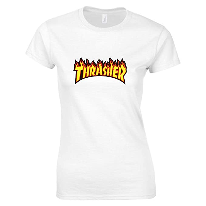 White Thrasher Skatebording Corta Donna Manica Medium Shirt T rCQhstd