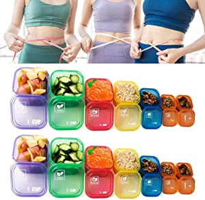 Denpetec 21 Day Portion Control Container kit - 14 Pieces Healthy Eating Portion Control Pots Marked Containers, Color Coded Meal Prep System for Diet and Weight Loss