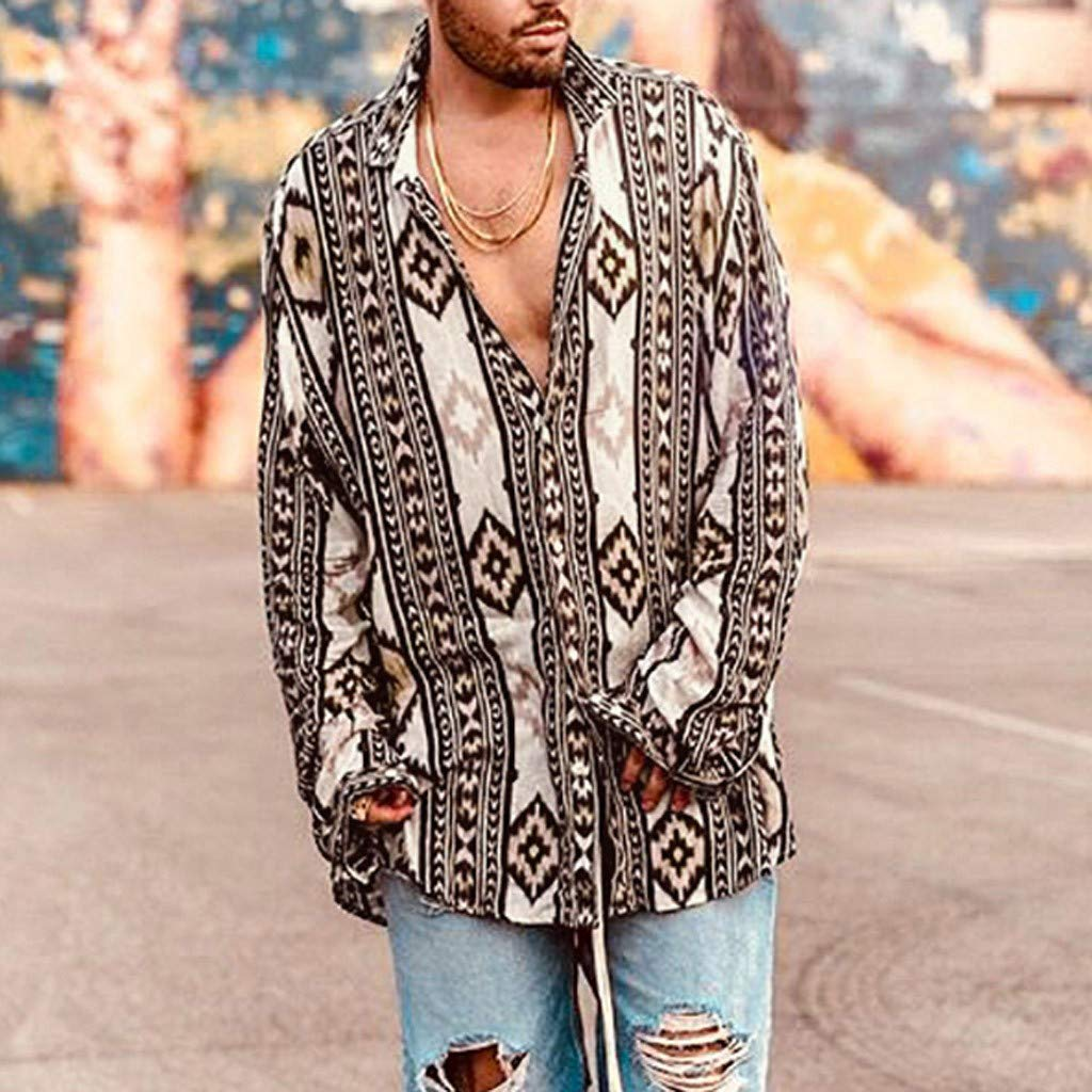 Top Moda, Camicia da Uomo con Risvolto Stampato Vintage