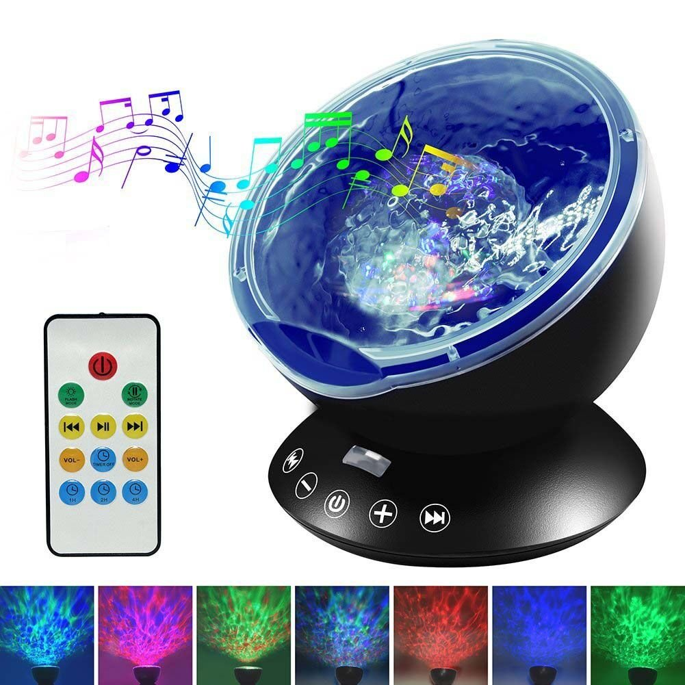 Night Lights for Kids - Upgraded LED Night Light with Music Player & Timer, Ocean Wave Projector with Remote & Easy Touch Mode Perfect for Babies Room and Bedroom 12 LED & 7 Colors (Black)