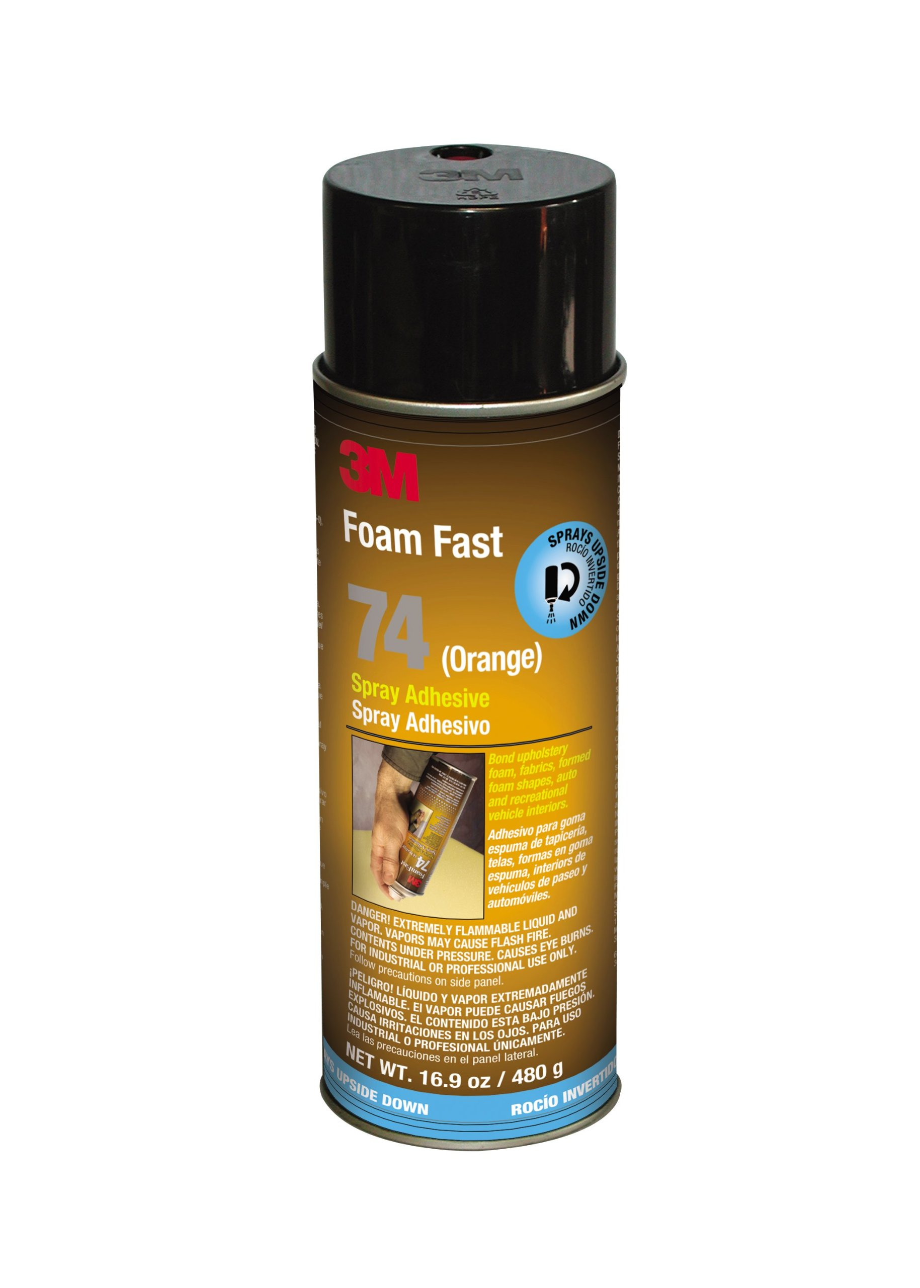 3M Foam Fast 74 Spray Adhesive Orange, INVERTED 16.9 fl oz Aerosol Can (Pack of 1)
