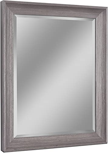 Headwest 8004 Transitional Driftwood Wall Mirror in Light Grey
