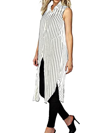 4a2d10d9984e StyleDome Women Chiffon Sheer Vertical Stripe Lapel Sleeveless Button Down  Long Vest Tops Shirt Dress White