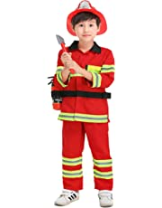 YOLSUN Fireman Role Play Costume for Kids, Boys' and Girls' Firefighter Dress up and Play Set (7 pcs)
