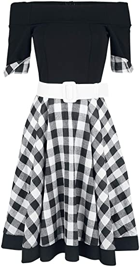 1d6fd978c8bf Belsira Off-The-Shoulder Swing Dress Medium-Length Dress Black-White ...
