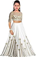 Amiga Girl's Party Wear Banglory Silk Semi Stitched Free Size Lehenga Choli, Salwar suit, Gown (Comfortable to 8-12 Year Girls)
