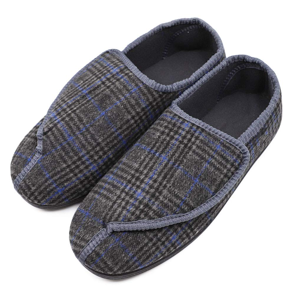 Mens Diabetic Slippers Extra Wide Memory Foam Comfort House Shoes with Adjustable Closure for Swollen Feet, Edema, Arthritis, Elderly Indoor/Outdoor Gray/Black