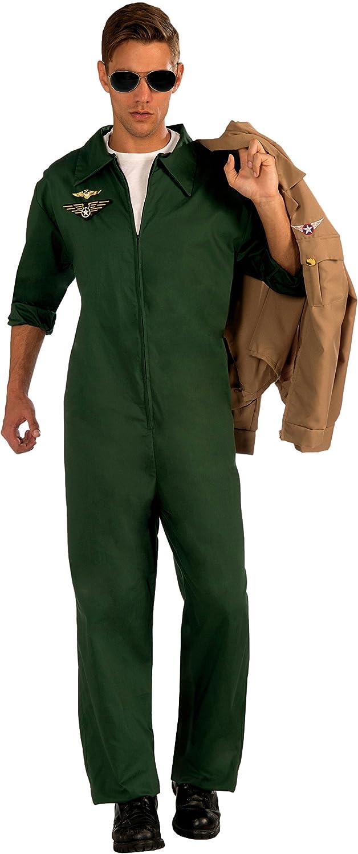 Men/'s Green Aviator Pilot Jumpsuit Adult Costume