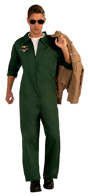d5acaa5b249 Amazon.com Forum Novelties Menu0027s Aviator Jumpsuit Pilot Costume Green  One Size Clothing Sc 1 St Amazon.com