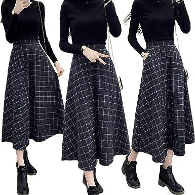 Zoylink Falda Larga Para Mujer Falda Midi Moda Patrón A Cuadros ...