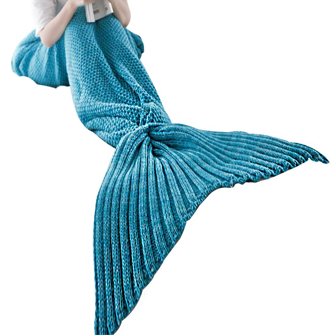 Vonty Mermaid Blanket,Mermaid Tail Blanket for Baby, All Seasons Sofa Sleeping Bag Sleeping Blankets for Baby Photo Photography,19''x35'',Light Blue