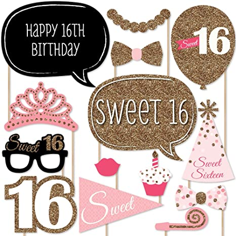 Amazon.com: Sweet 16 Birthday - Photo Booth Props Kit - 20 Count ...