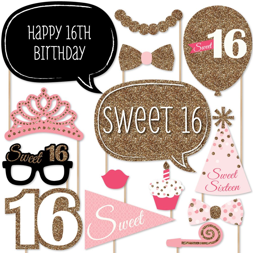 16th birthday party supplies decorations hot pink happy birthday banner sign. Black Bedroom Furniture Sets. Home Design Ideas