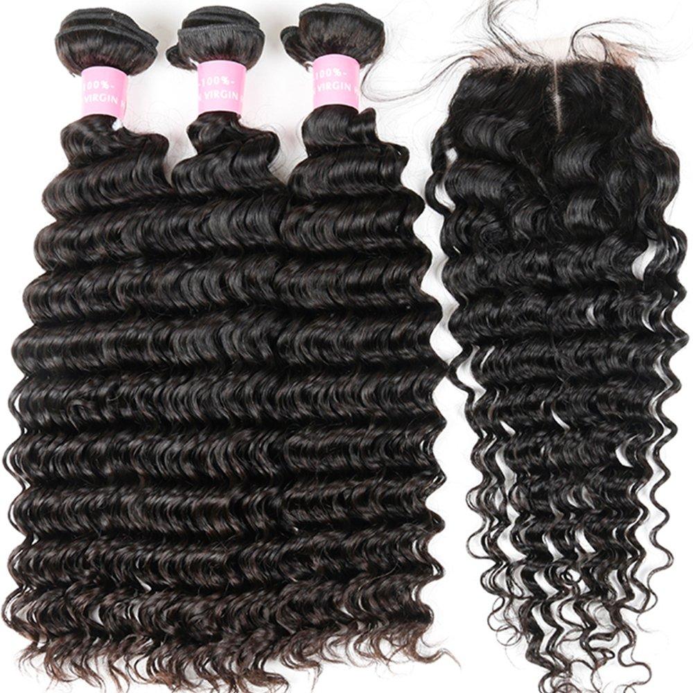 Brazilian 8A Deep Wave 3 Bundles with Closure Virgin Human Hair Bundles with 4x4 Middle Part Closure Unprocessed Virgin Human Hair Natural Black(20 22 24+18) by Miss GAGA (Image #5)