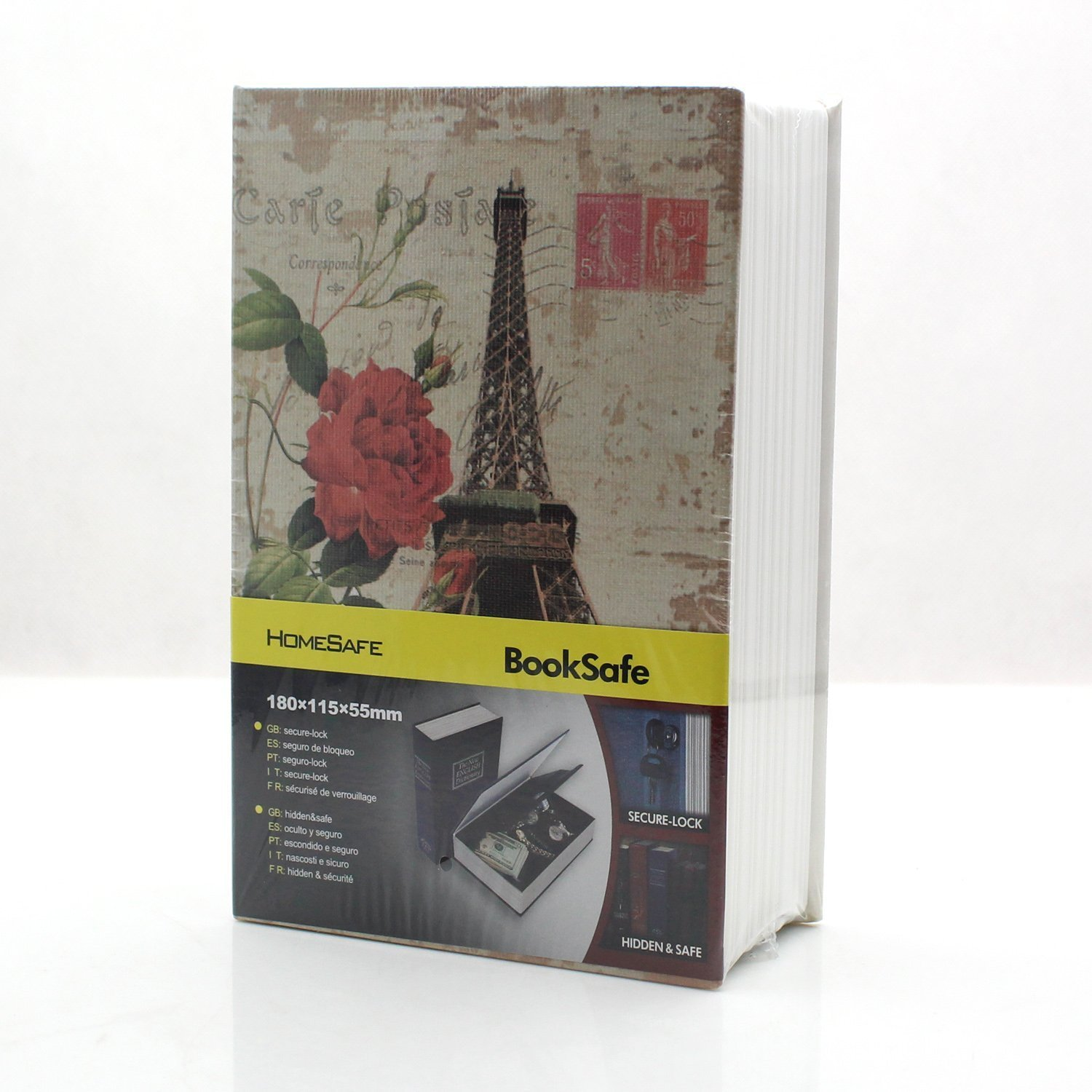 Book Safe - Riipoo M Size Eiffel Tower Pattern Book Safe, Diversion Hidden Book Safe With Inside Strong Metal Case and Key Lock (180 x 115 x 55 mm)