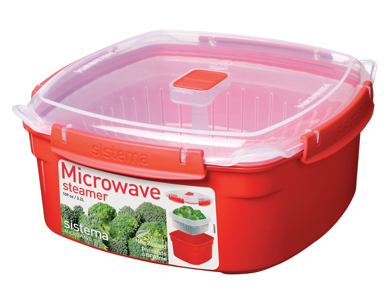 Sistema Microwave Collection Steamer, Large, 109 oz./3.2 L, Red by Sistema