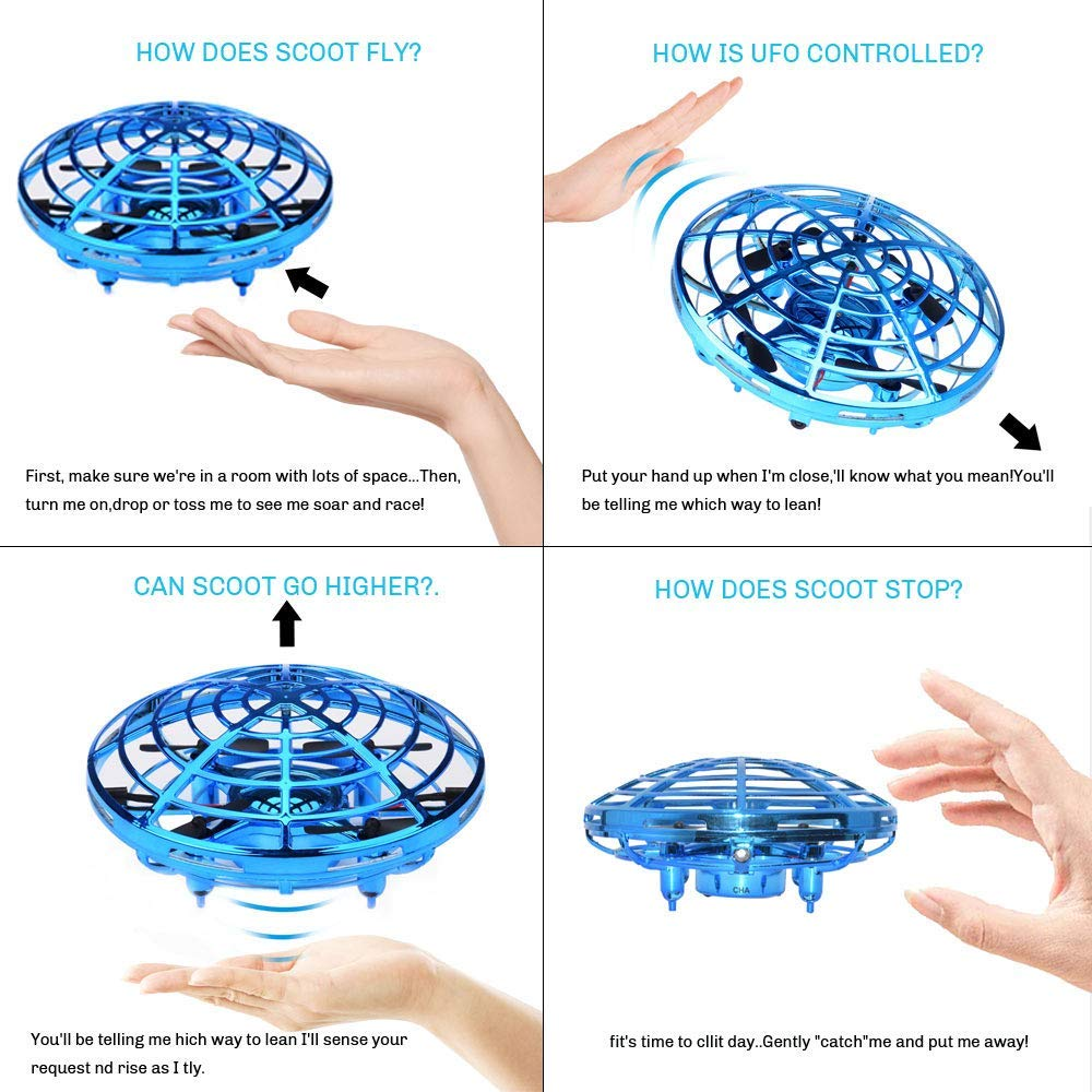DaycMy Mini UFO Flying Ball Toys, Hand-Controlled Drone Quadcopter Flying Ball Toy Drones ,Infrared Induction Interactive Drone Indoor Flyer Toys with 360° for Kids, Teenagers Boys Girls(Blue) by DaycMy (Image #6)