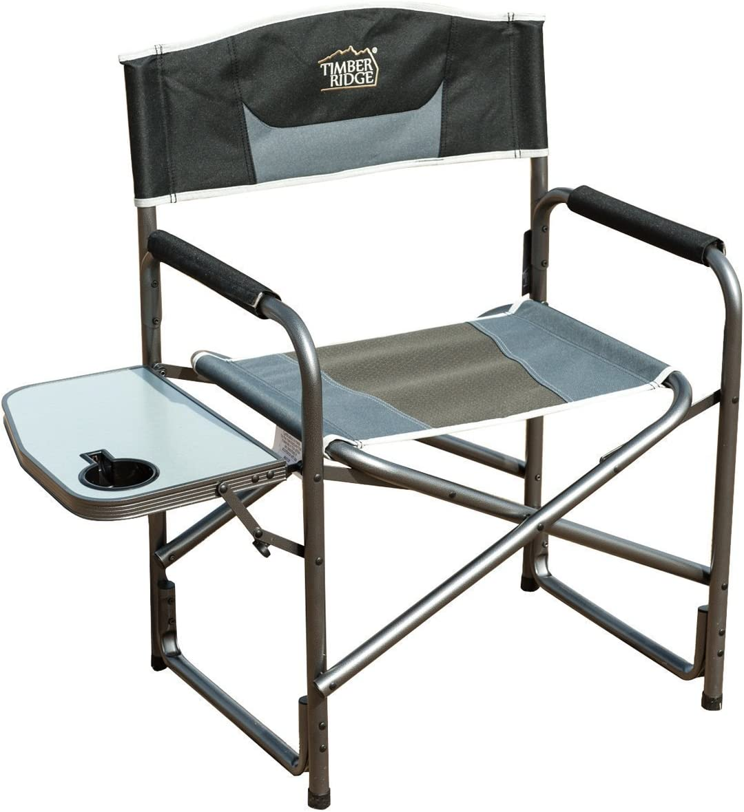 Timber Ridge Director s Chair Folding Aluminum Camping Portable Lightweight Chair Supports 300lbs with Side Table, Outdoor