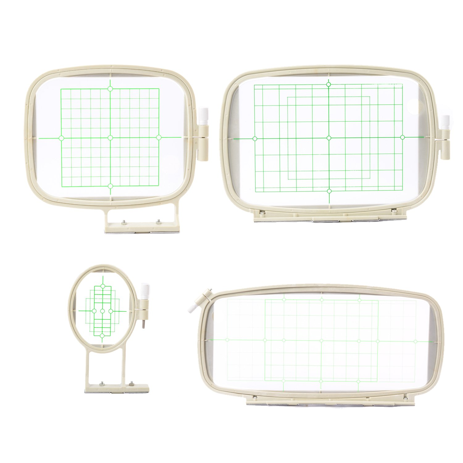 4 in 1 Embroidery Machine Hoops Set for Brother PE-700, PE-700II, PE-750D, PE-780D, Innovis 1000, Innovis 1200 Innovis 1250D, PC-6500, PC-8200, PC-8500, PC-8500D Kungfuking 4336934003