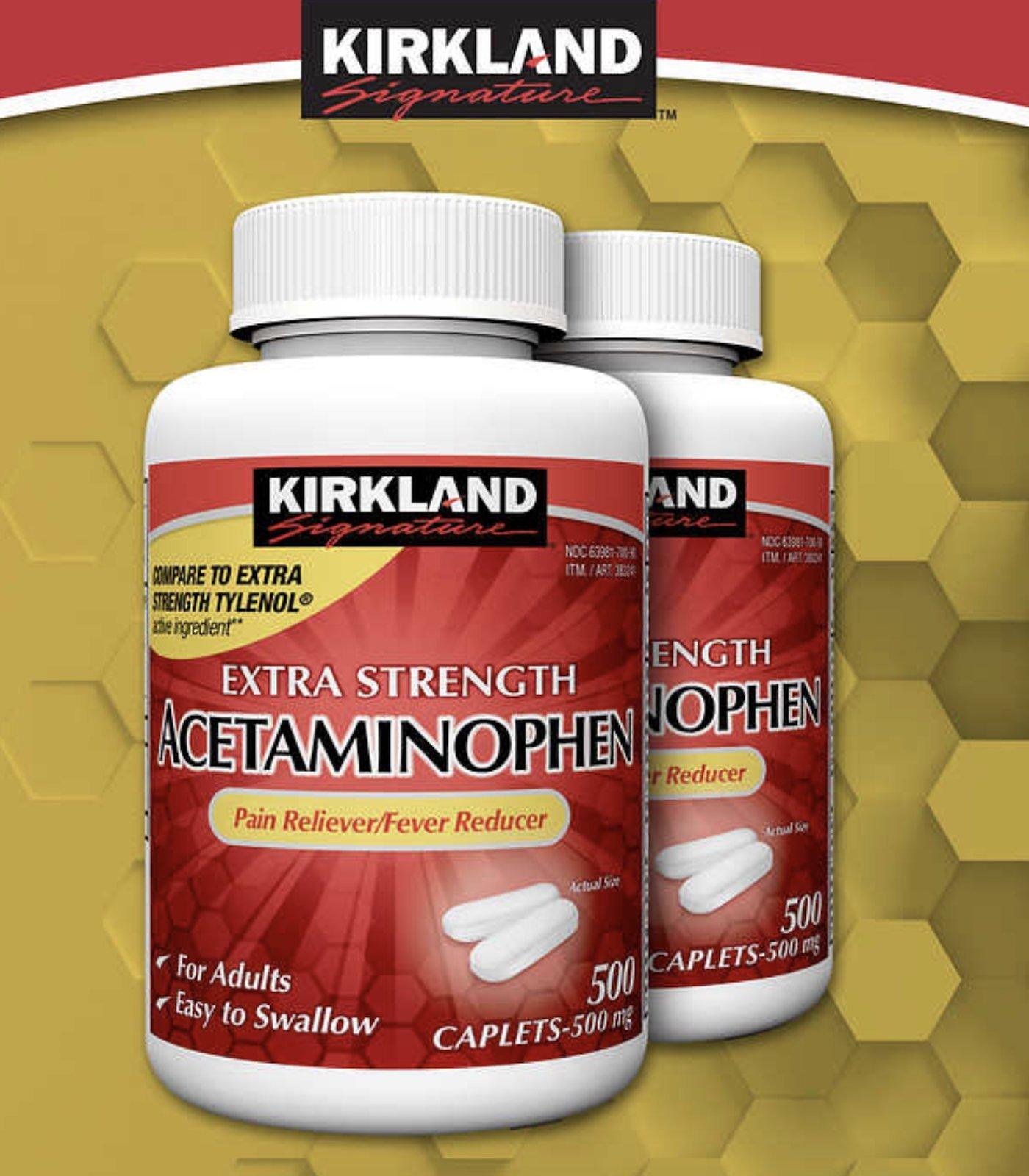 Kirkland Signature Extra Strength Acetaminophen 500MG Caplets 500-Count Bottle, 2 Pack(1000 Total)