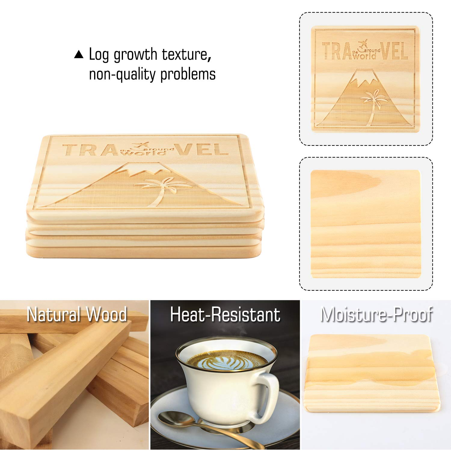 Table Mug Cup Mats Funny Square Drink Coasters for Home Office Bar Jagucho Natural Wood Coasters for Drinks Absorbent Set of 4 PCS Arc de Triomphe Personalized Pattern Cute Housewarming Gifts