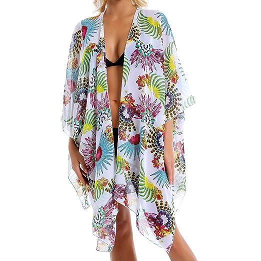 509b4b83e470e Image Unavailable. Image not available for. Color: Women Cover Up,Kintaz 2018  Womens Swimwear Chiffon Print Cover up Beach Sarong Pareo Bikini