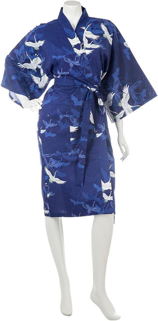 The Japanese Shop Kimono de algodón japonés, Color Azul Marino: Amazon.es: Hogar