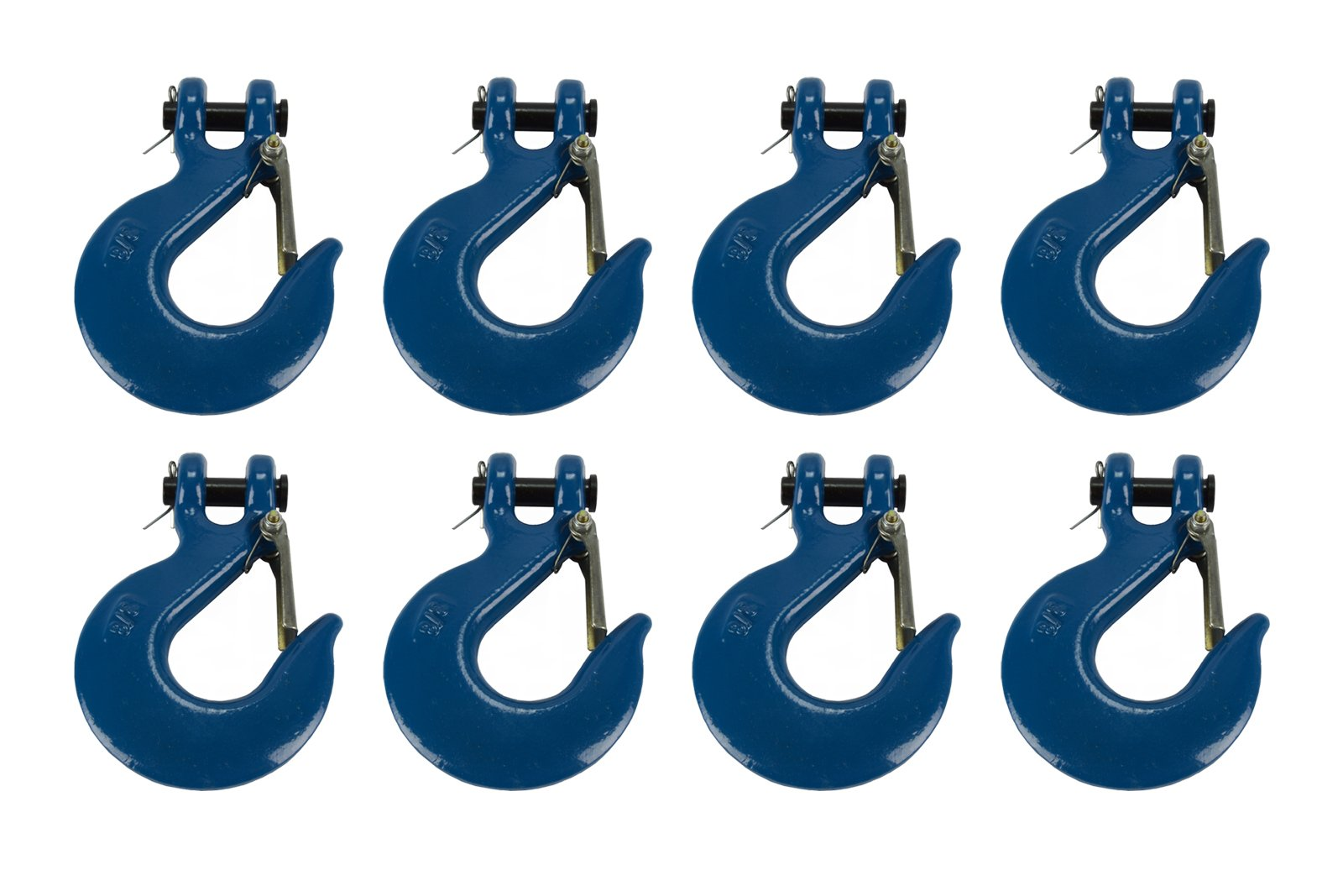 TEMCo 8 Lot 3/8'' Chain Slip Safety Latch Hook Clevis Rigging Tow Winch Trailer Grade 70