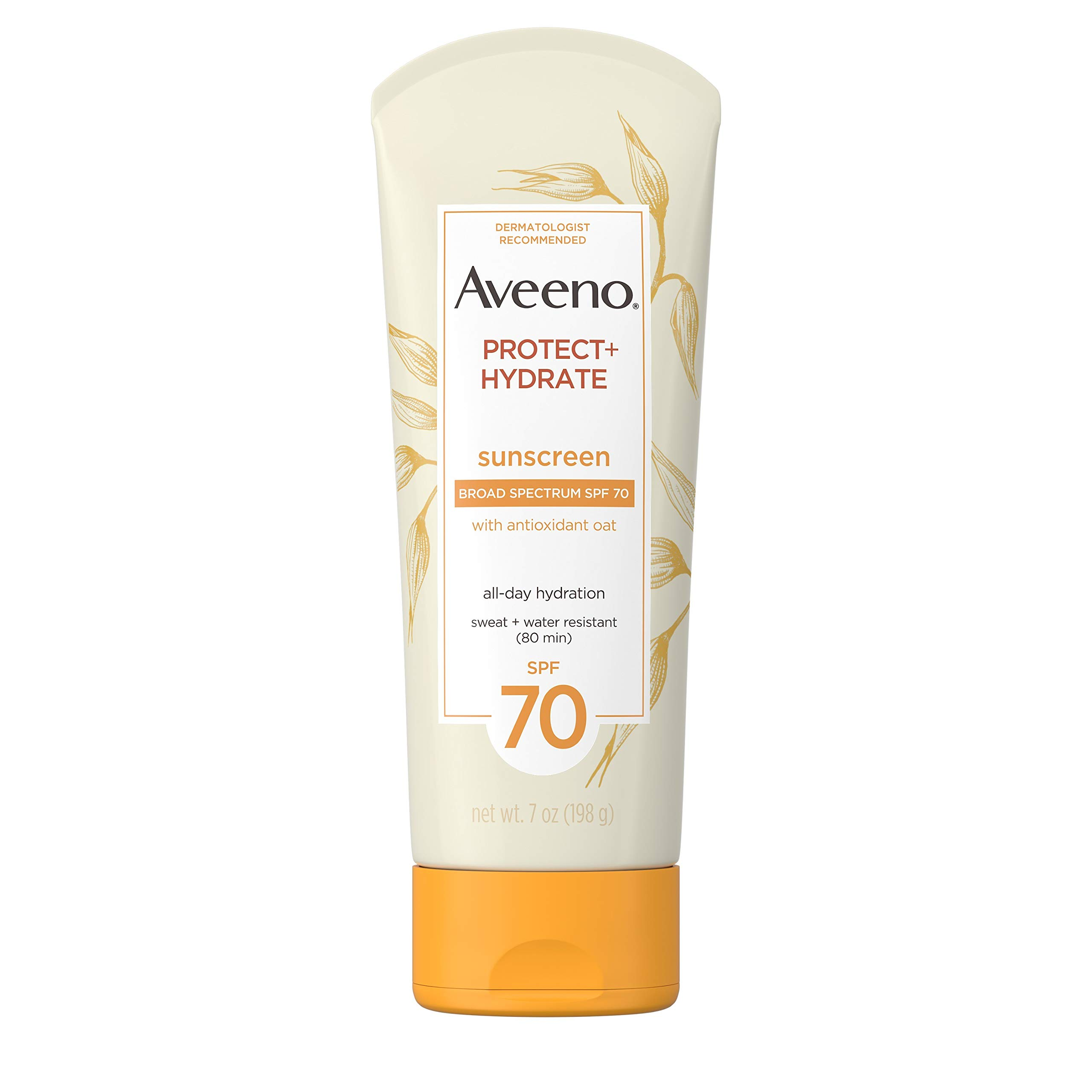 Aveeno Protect + Hydrate Moisturizing Sunscreen Lotion with Broad Spectrum SPF 70 & Antioxidant Oat, Oil-Free, Sweat- & Water-Resistant Sun Protection, 7 oz by Aveeno