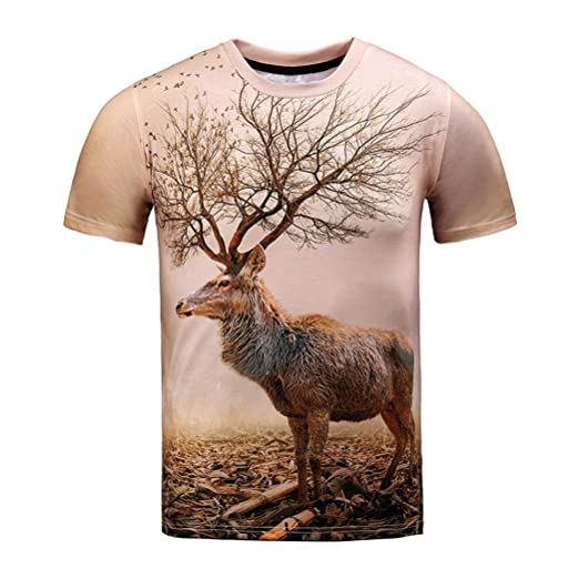07249b3e6a74 TOOPOOT Unisex 2018 New 3D Printing Deer T-Shirt Hipster Clothing (Size  S