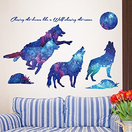 4edbccfd52a LiveGallery Creative Blue Starry Sky Wolf Wall Decals Removable Moon Wall  Stickers Vinyl Wall Art DIY