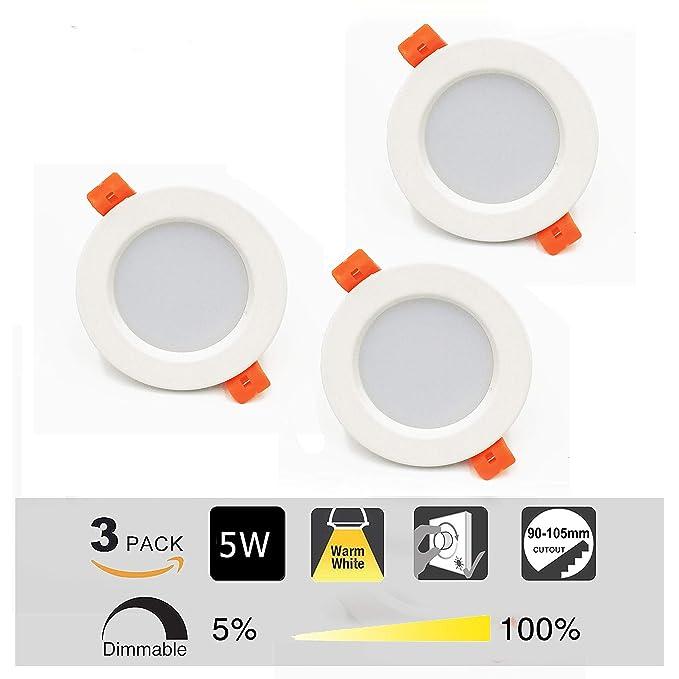 Foco LED Empotrable Redondo,3 x 5W,3000K Blanco Cálido, Regulable,450 Lumens,IP44,Foco LED para Hogar, Oficina, Iluminación Comercia: Amazon.es: Iluminación