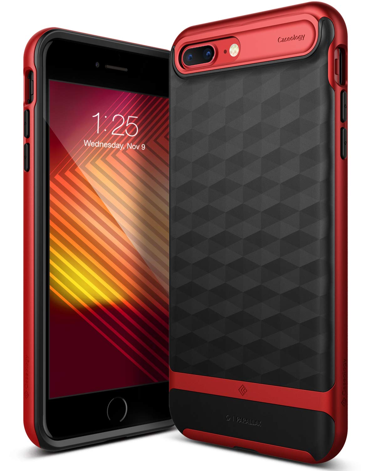 Caseology for iPhone 8 Plus case/iPhone 7 Plus case [Parallax Series] - Slim Protective Secure Grip with Textured Geometric Design Case for iPhone 8 Plus/iPhone 7 Plus - Black/Red