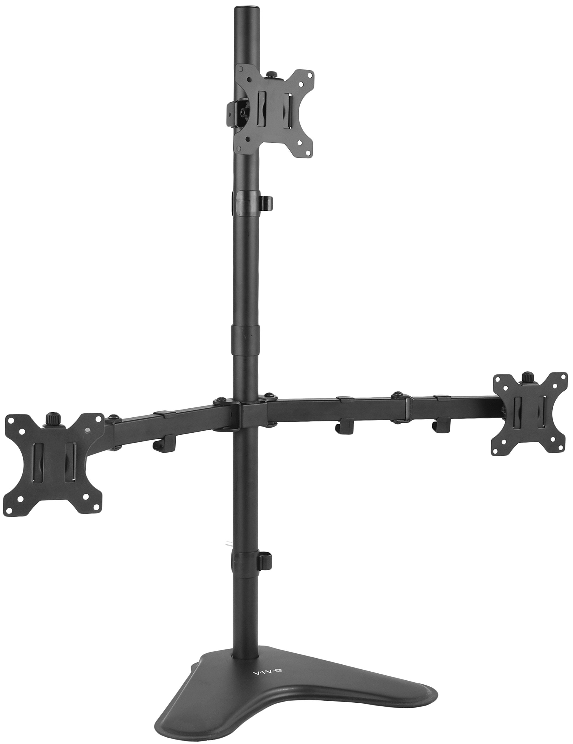 VIVO Triple LCD LED Computer Monitor Desk Stand   Free Standing Heavy Duty Fully Adjustable Mount for 3 Screens up to 30 inches (STAND-V003E) by VIVO