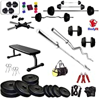 BODYFIT Home Gym Combo Flat Bench with 30 KG Weight Plates 4 RODS Home Gym Set & Fitness kit