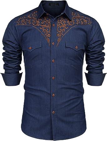 Domple Men Embroidery Short Sleeve Slim Button Up Denim Western Shirt