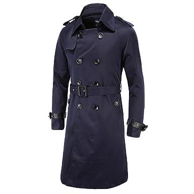 bf2cdb22571b WSLCN Classique Manteau Homme Blousons à Double Boutonnage Trench Coat  Longue Veste Militaire Slim Jacket avec Ceinture Uni  Amazon.fr  Vêtements  et ...
