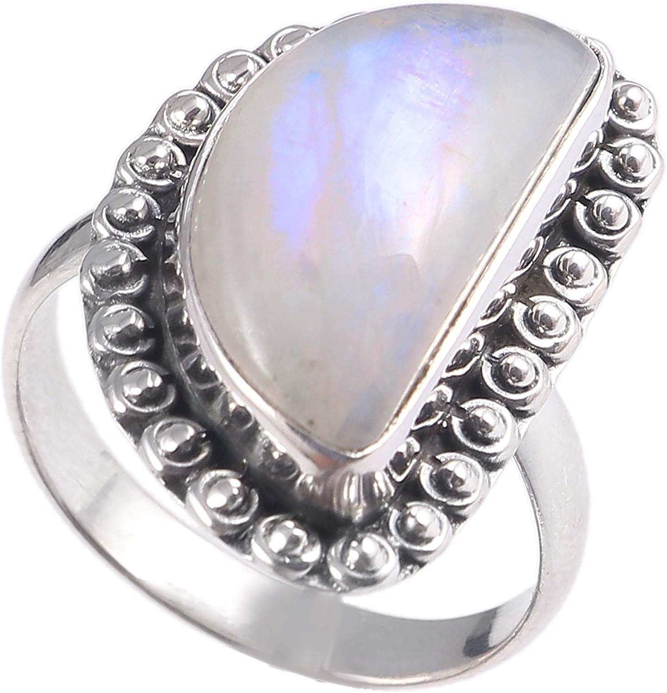 Anillo de plata de ley 925 para mujer|anillo de piedra preciosa natural Arco iris blanco|Banda de boda para las mujeres|Piedras preciosas anillo, anillo de compromiso|Tamaño del anillo 14.5 (R-64)