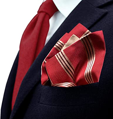 Remo Sartori Made in Italy Mens Reversible Striped Red Pocket Square Hanky,Silk