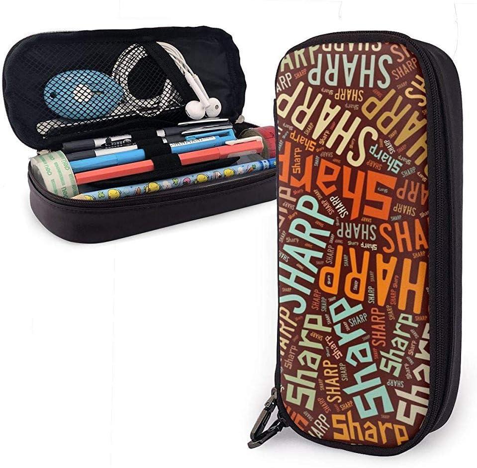 Sharp American Apellido Gran capacidad Funda de lápiz de cuero Estuche para lápices Bolsa de almacenamiento grande Organizador de caja Bolígrafo de maquillaje escolar Bolso de cosméticos portátil