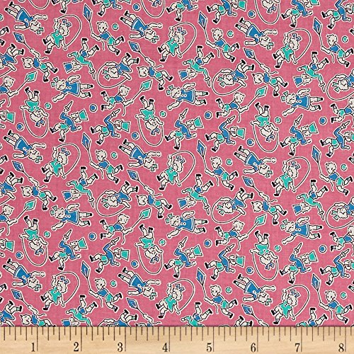 P & B Textiles Toy Box Miniatures Jumping Rope Pink Fabric by The Yard -  26754-4734-PIN1