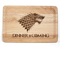 Planche à découper en bois style Game of Thrones avec inscription Dinner is Coming