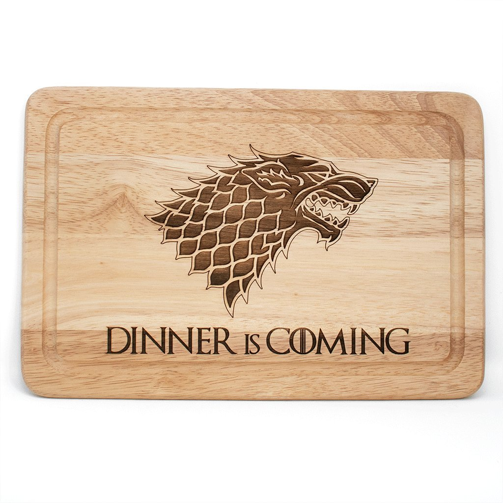 Game of Thrones inspired Dinner is Coming wooden chopping cutting cheese board Personalised Store UK